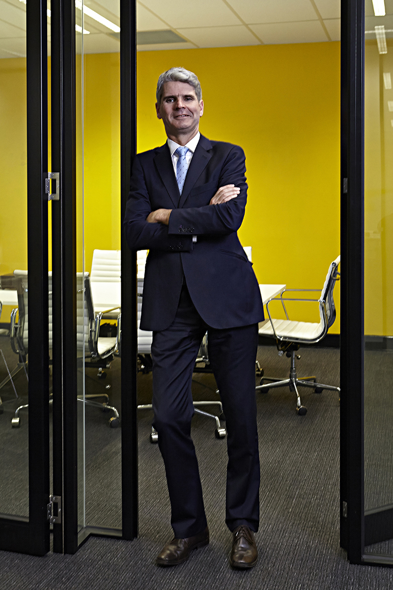 Corporate Portrait Male Standing Yellow Wall